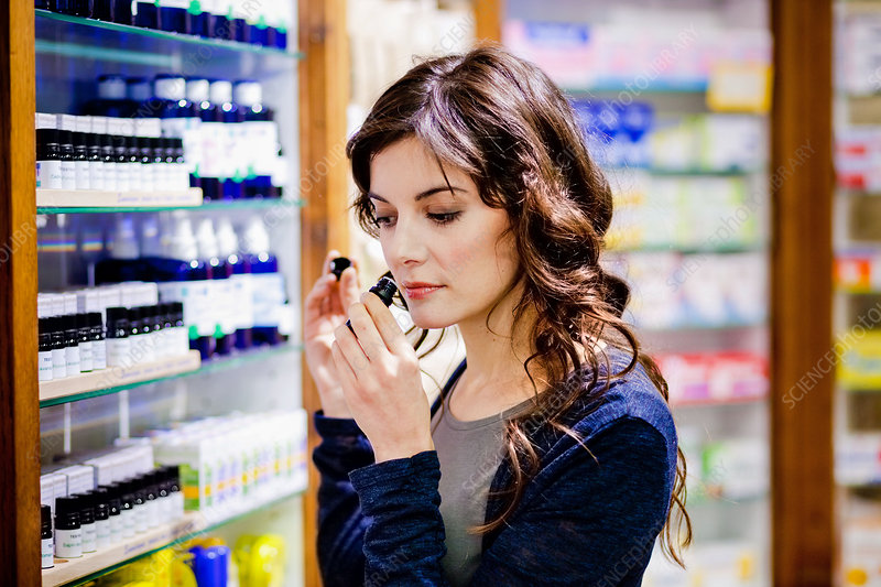 Woman shopping for aromatherapy