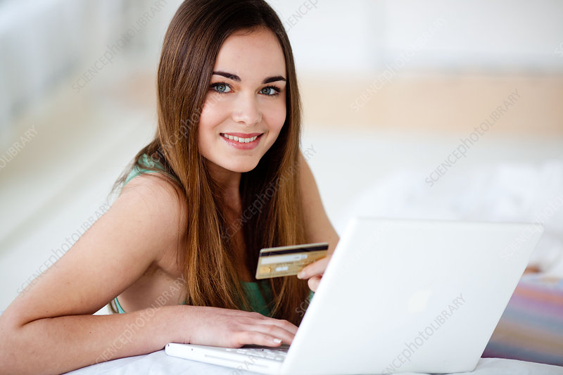 Woman doing purchase online