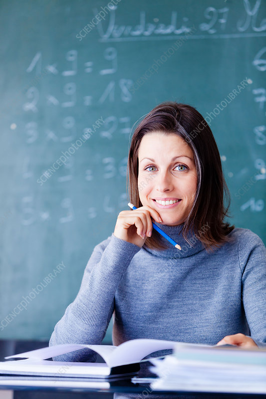 School teacher at her desk