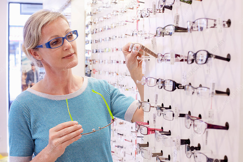 Woman trying frames