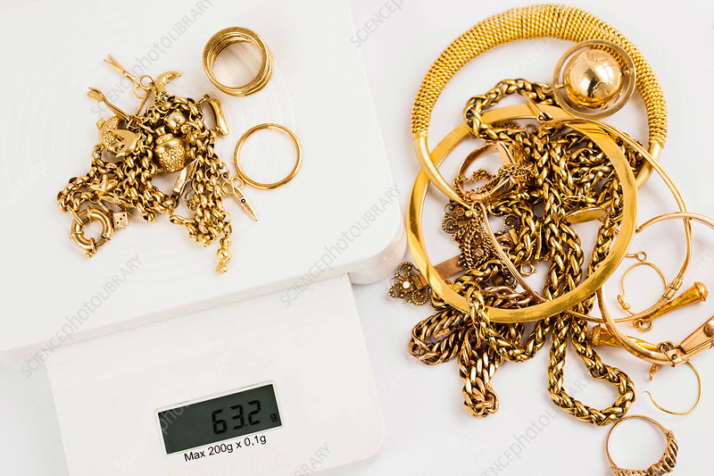 Gold jewellery on a scale