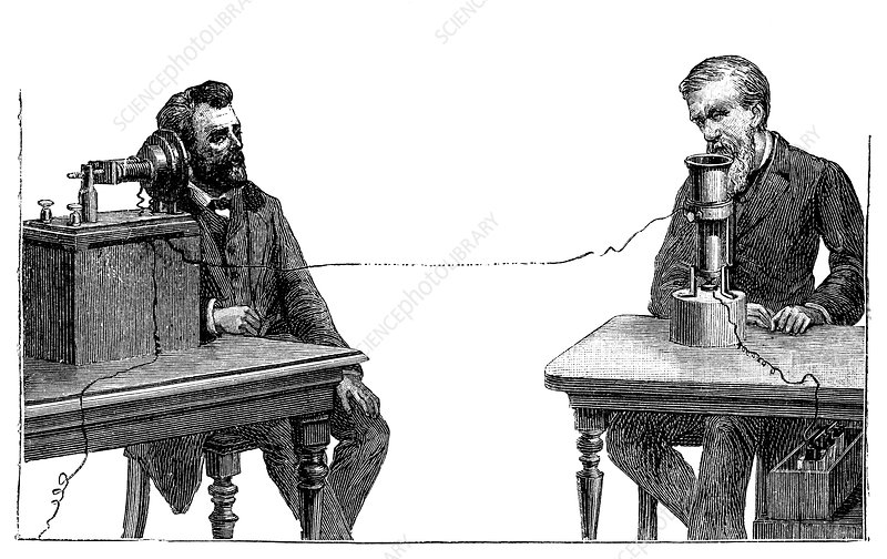 Bell and Gray using their telephones, 19th century