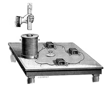 Magnetic induction demonstration, 19th century