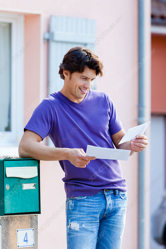 Man receiving letters