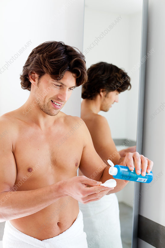 Man using water lotion