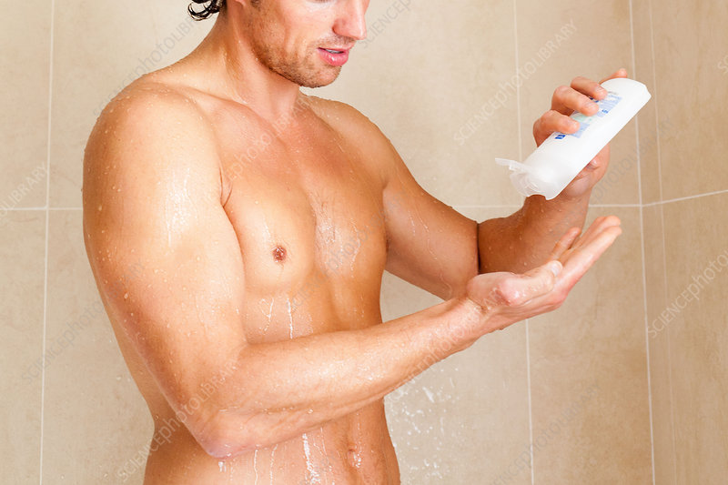 Man having a shower