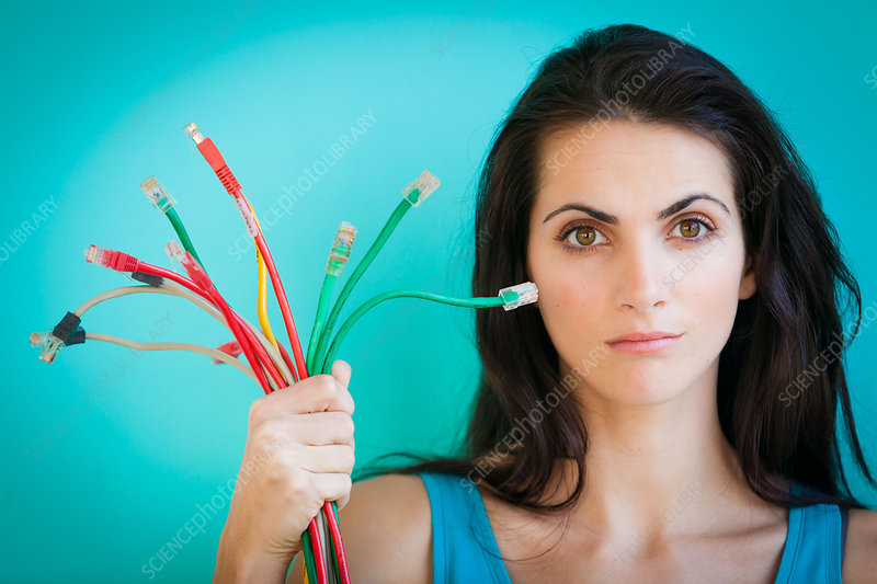 Woman holding Ethernet cables