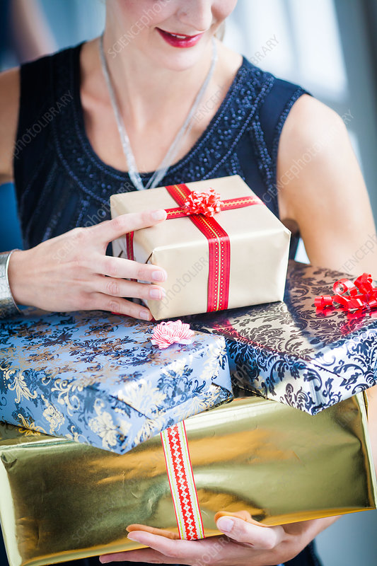 Woman receiving gifts