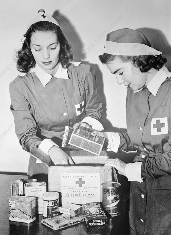 Red Cross workers packing food parcels, 1942
