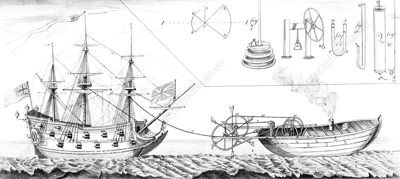 jonathan hulls u0026 39  steam tug towing a warship  illustration - stock image c033  2843