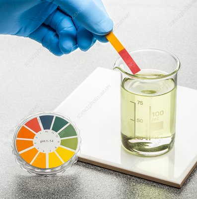 PH test with universal indicator paper