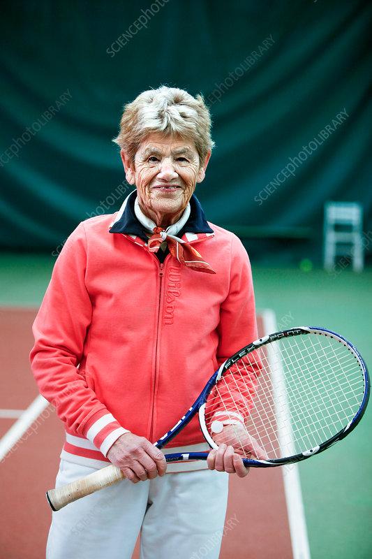 Senior practising a sport