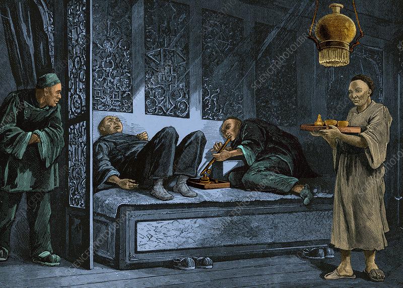 Opium Den, 19th Century - Stock Image - C033/4050 - Science Photo