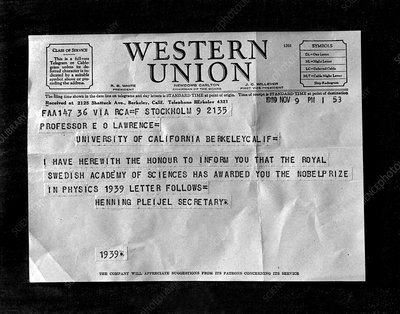 Lawrence's Nobel Prize Telegram, 1939