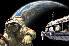 Astronauts Working on Space Station, Concept