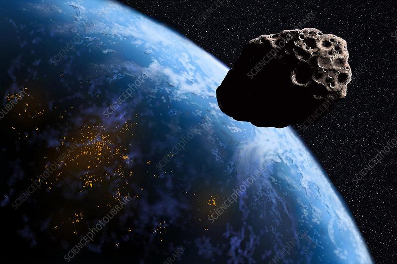 Asteroid Threatening Earth, Illustration - Stock Image ...