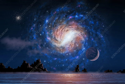 Spiral Galaxy Above Alien Sea