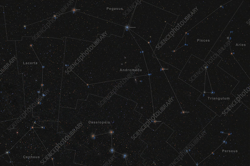 Andromeda Constellation  Labeled Diagram