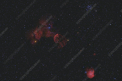 Jellyfish Nebula and Open Clusters in Gemini