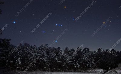 Sirius and Orion Setting on the Snow