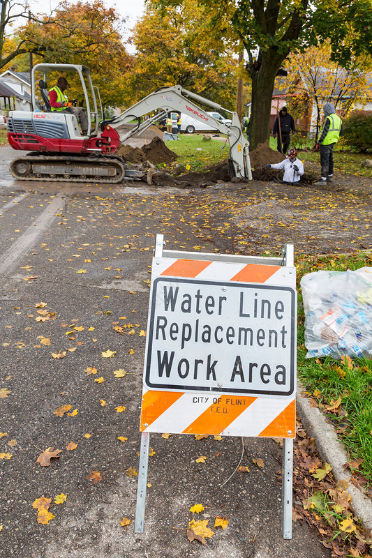 Water pipe replacement, Michigan, USA