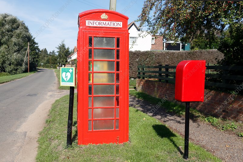 Red telephone kiosk and community defibrillator