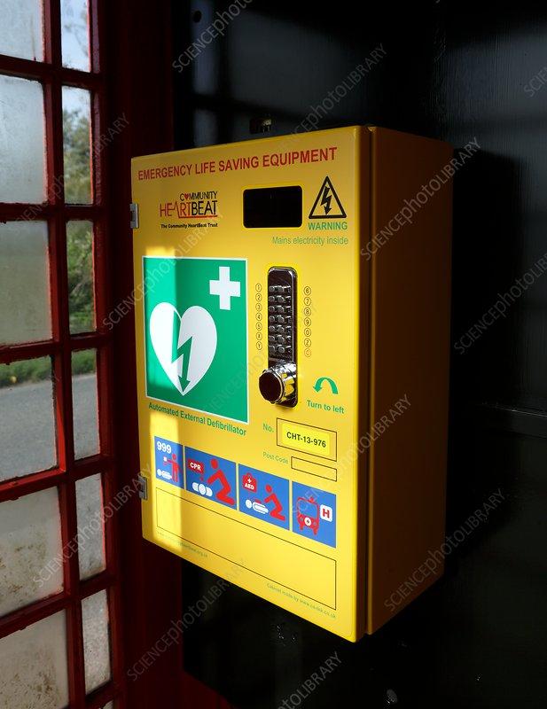 Community defibrillator in red telephone kiosk