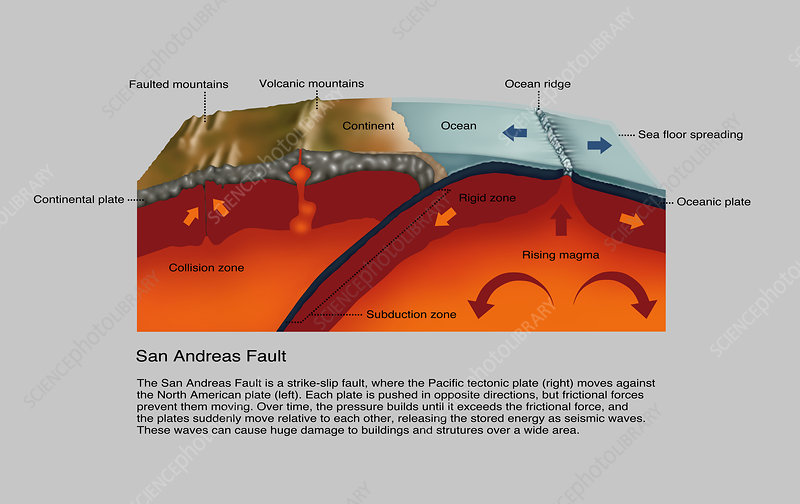 San Andreas Fault  Diagram - Stock Image - C033  5456