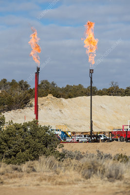 Gas Flares at Fracking Site
