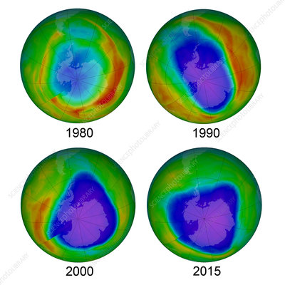 Antarctic Ozone Hole, 1980, 1990, 2000, and 2015