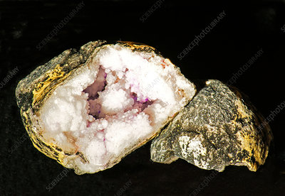 Geode Opened with Calcite and Quartz