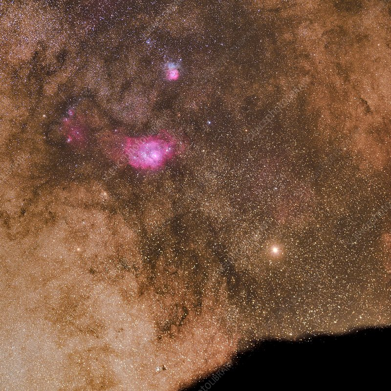 Mars and Lagoon Nebula in the Milky Way