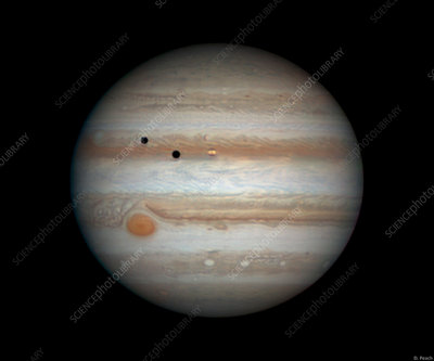 Jupiter with transiting moons, optical image