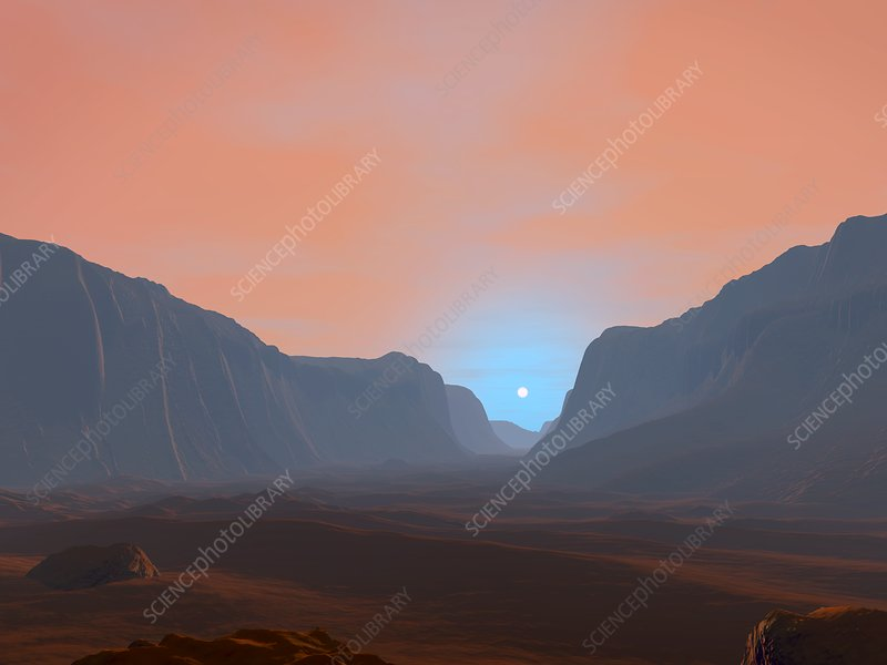 Sunrise over a Martian canyon, illustration