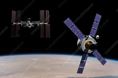 Crew Exploration Vehicle and ISS, illustration