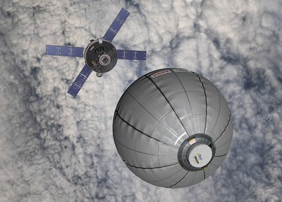 CEV approaching inflatable space habitat, illustration