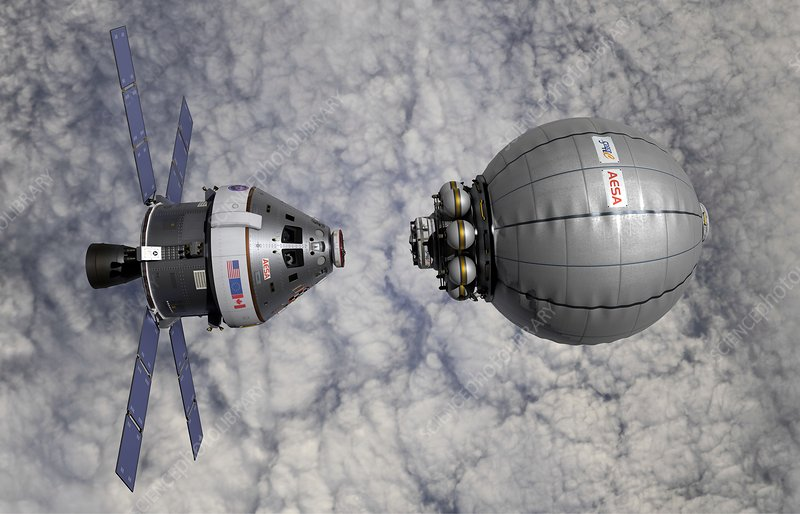 CEV docking with inflatable space habitat, illustration