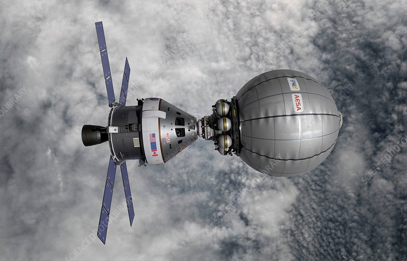 CEV docked with inflatable space habitat, illustration