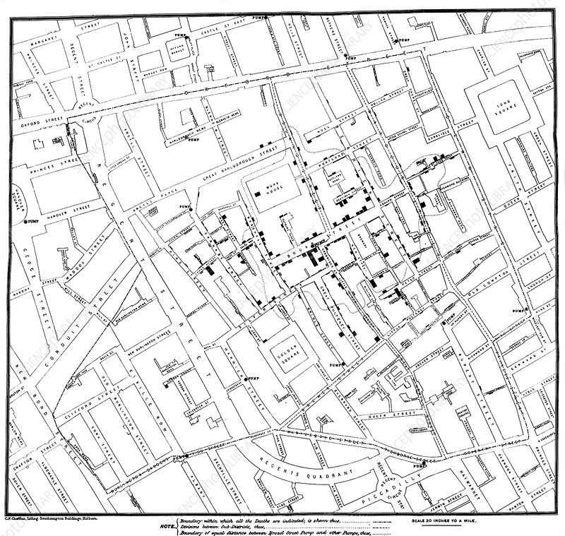 John Snow's cholera map, 1854