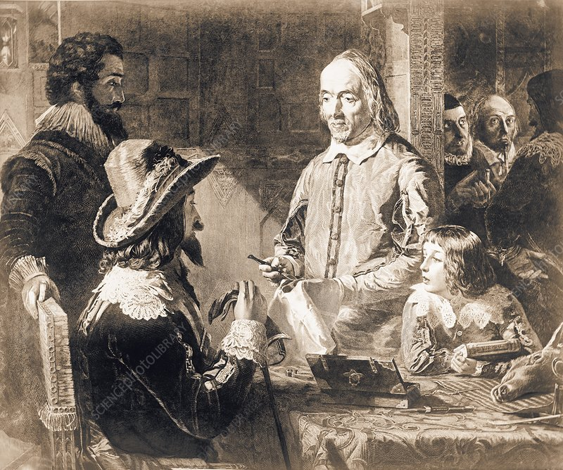 Harvey demonstrating heart anatomy to Charles I
