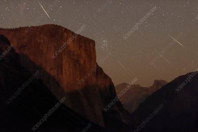 Perseid meteors over Yosemite, composite image