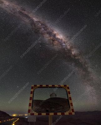 Milky Way and La Silla road mirror