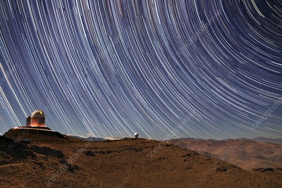 Star trails above La Silla Observatory