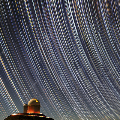 Star trails over ESO 3.6-metre telescope