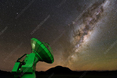 Milky Way and one of the ALMA telescopes