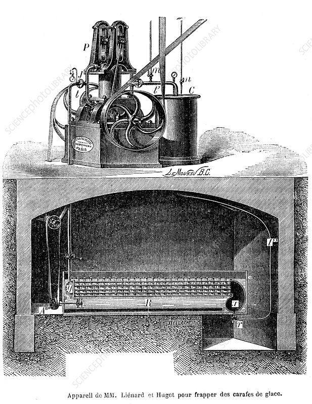 19th Century ice cube machine, illustration