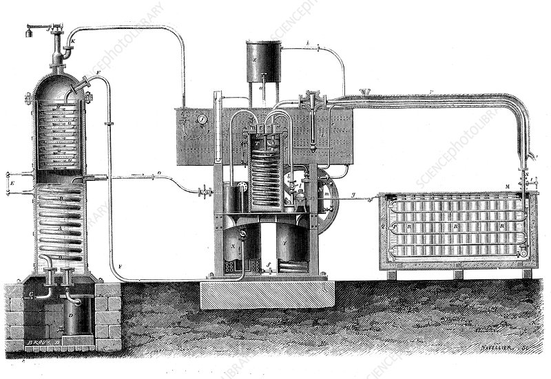 19th Century ice-making machine, illustration