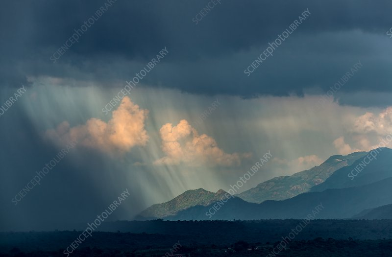 Monsoon over mountains, India