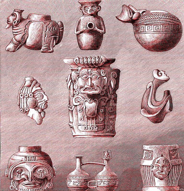 Pre-Colombian archaeological artifacts, 19th C illustration