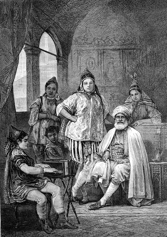 19th Century Tunisian Jewish family, illustration